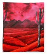 Southwestern Abstract Oil Painting Fleece Blanket