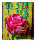 Soutime Rose Against Cracked Wall Fleece Blanket