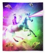 Space Cat Riding Unicorn - Laser, Tacos And Rainbow Fleece Blanket