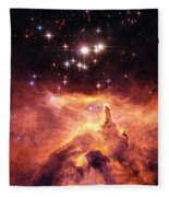 Space Image Orange And Red Star Cluster With Blue Stars Fleece Blanket