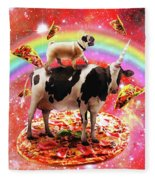 Space Pug Riding Cow Unicorn - Pizza And Taco Fleece Blanket