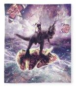 Space Pug Riding Dinosaur Unicorn - Pizza And Taco Fleece Blanket