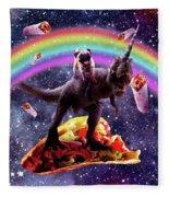 Space Pug Riding Dinosaur Unicorn - Taco And Burrito Fleece Blanket