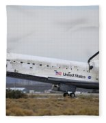 Space Shuttle Discovery Lands At Edwards Afb September 11 2009 Fleece Blanket