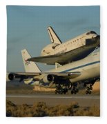 Space Shuttle Endeavour Departs Edwards Afb December 10 2008 Fleece Blanket