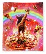 Space Sloth Riding Giraffe Unicorn - Pizza And Taco Fleece Blanket
