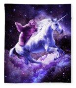 Space Sloth Riding On Unicorn Fleece Blanket