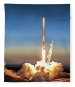 Spacex Iridium-5 Mission Falcon 9 Rocket Launch Fleece Blanket