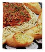 Spaghetti And Meat Sauce With Garlic Toast  Fleece Blanket