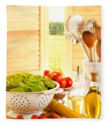 Spaghetti And Tomatoes In Country Kitchen Fleece Blanket