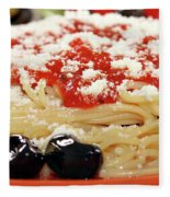 Spaghetti With Tomatoes And Olives Food Background Fleece Blanket