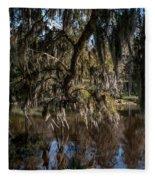 Spainsh Moss Hanging Over Pond On Middleton Place Fleece Blanket
