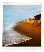 Spanish Beach Chalets Fleece Blanket