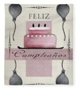 Spanish Birthday Greeting Card Fleece Blanket