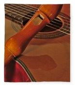 Spanish Guitar And Flute Fleece Blanket