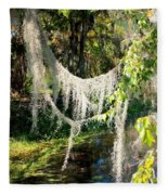 Spanish Moss Over The Swamp Fleece Blanket