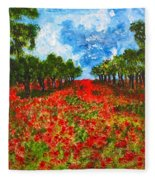 Spanish Poppies Fleece Blanket