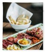 Spanish Smoked Meats Ham And Cheese Platter Starter Dish Fleece Blanket