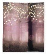 Sparkling Fantasy Fairytale Trees Nature Pink Woodlands - Sparkling Lights Bokeh Fantasy Trees Fleece Blanket