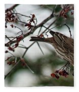 Sparrow Eating Berry Fleece Blanket