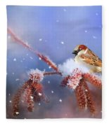 Sparrow In Winter Fleece Blanket