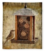 Sparrow On The Feeder Fleece Blanket