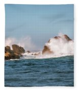 Spectacular Waves Smashing On The Rocks At Milford Sound Fjord O Fleece Blanket
