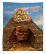 Sphinx And Pyramid Of Khafre Fleece Blanket