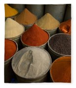 Spices For Sale In Souk, Fes, Morocco Fleece Blanket