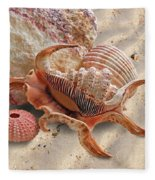 Spider Conch Shell On The Beach Fleece Blanket