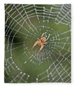 Spider In A Dew Covered Web Fleece Blanket