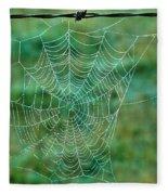Spider Web In The Springtime Fleece Blanket