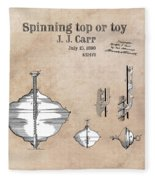 Spinning Top Or Toy Patent Art Fleece Blanket