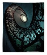 Spiral Ornamented Staircase In Blue And Green Tones Fleece Blanket