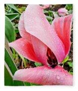 Spiral Pink Tulips Fleece Blanket