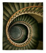 Spiral Staircase  In Green And Yellow Fleece Blanket