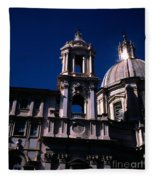 Spire And Cupola St Agnese In Agone Piazza Navona Rome Italy Fleece Blanket