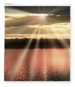 Spiritual Sunset Above A Mountain Lake Fleece Blanket