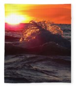 Splash - Sunset On Lake Huron Fleece Blanket