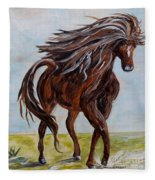 Splashing The Light - A Young Horse Fleece Blanket