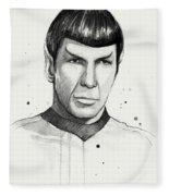 Spock Watercolor Portrait Fleece Blanket