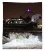 Spokane Falls Night Scene Fleece Blanket