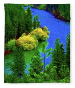Spokane River Blues Fleece Blanket