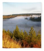 Spokane River Under A Misty Morning Blanket Fleece Blanket
