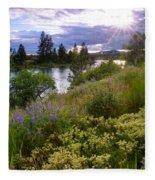 Spokane River Wildflowers Fleece Blanket
