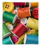 Spools Of Thread With Buttons Fleece Blanket