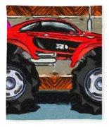 Sports Car Monster Truck Fleece Blanket