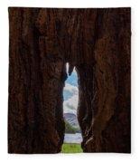 Spot The Lake Shore View Through The Hollow Tree Trunk Fleece Blanket