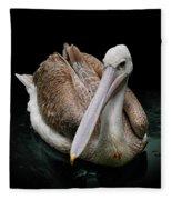 Spotlight On A Pink-backed Pelican Fleece Blanket