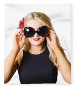 Spray Tan Girl Wearing Goggles. Tanning Beauty Fleece Blanket